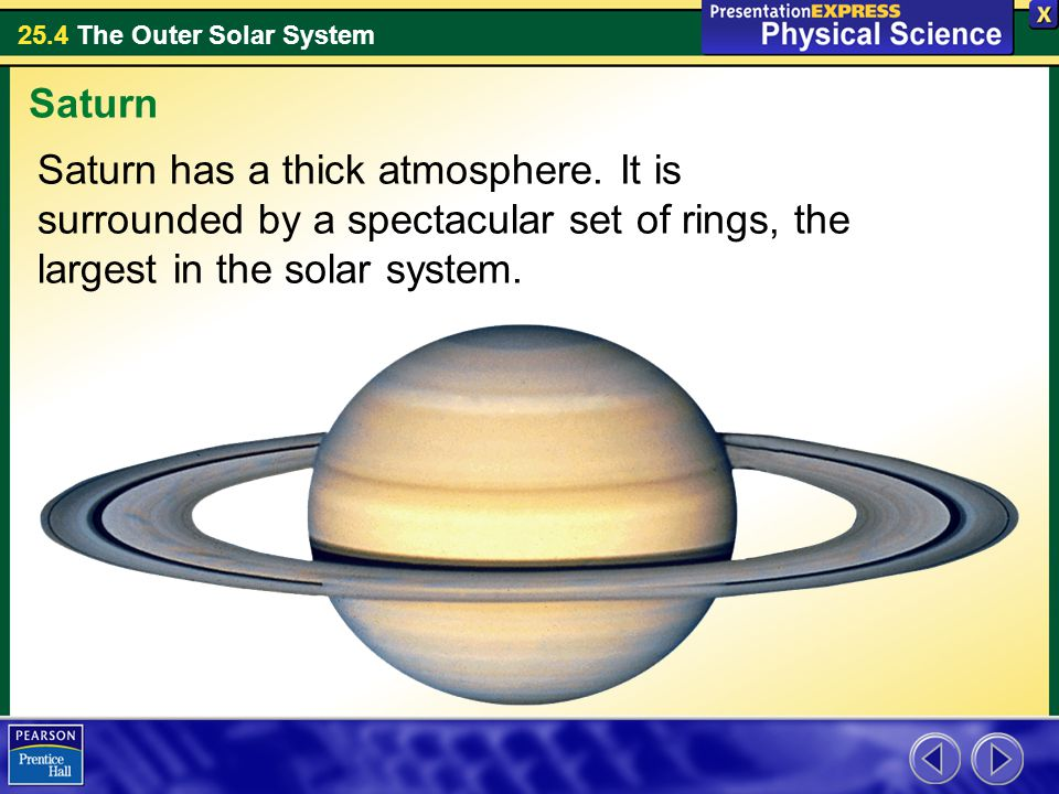 25.4 The Outer Solar System Saturn has a thick atmosphere. It is surrounded by a spectacular set of rings, the largest in the solar system. Saturn