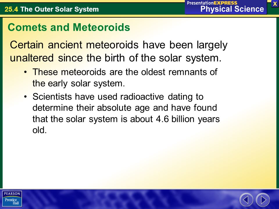 25.4 The Outer Solar System Certain ancient meteoroids have been largely unaltered since the birth of the solar system. These meteoroids are the oldes
