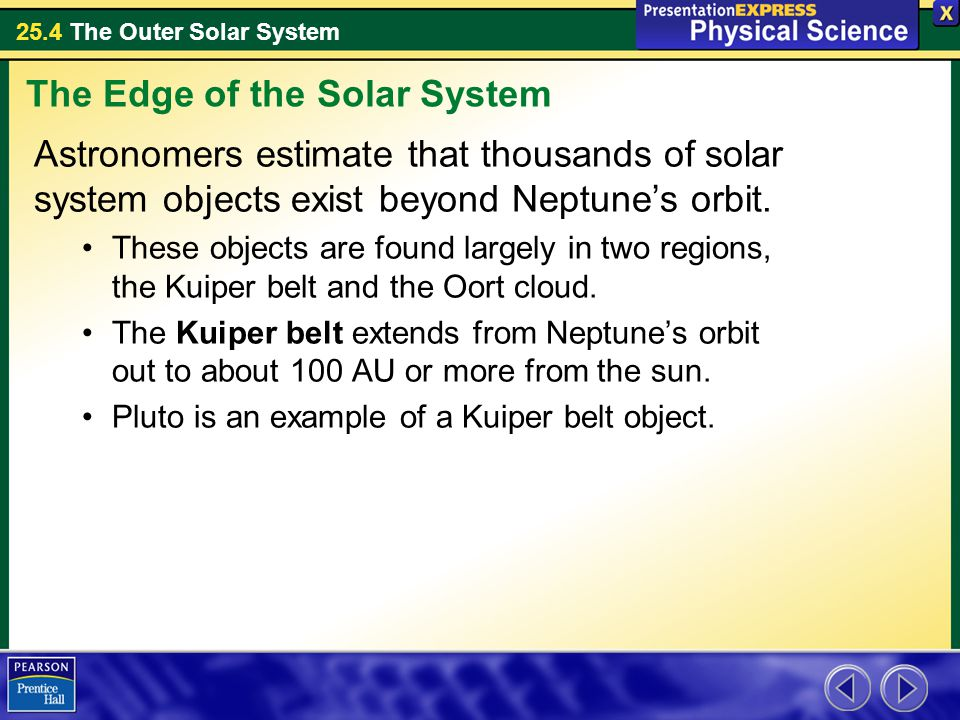 25.4 The Outer Solar System Astronomers estimate that thousands of solar system objects exist beyond Neptune's orbit. These objects are found largely