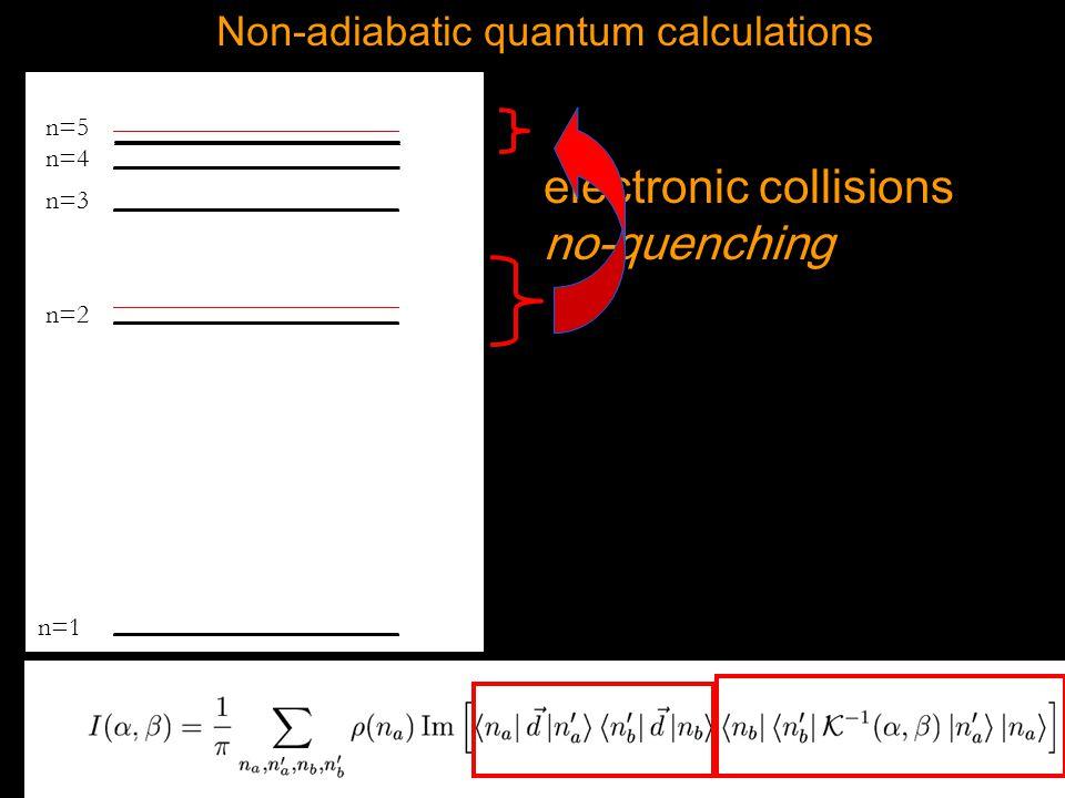 t n=1 n=2 n=3 n=4 n=5 Non-adiabatic quantum calculations electronic collisions no-quenching