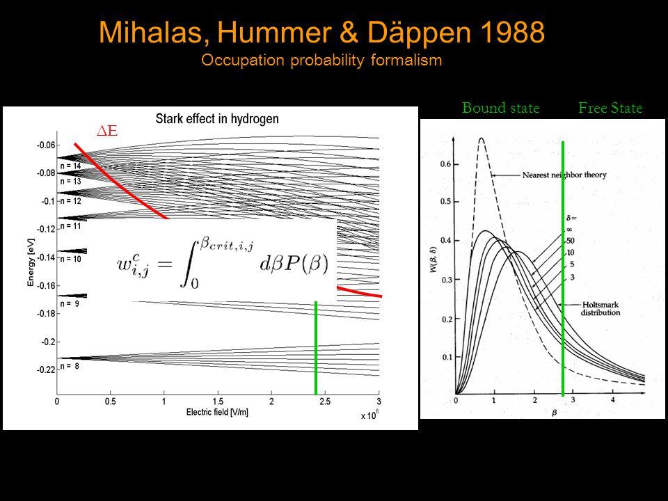 ΔEΔE Bound state Free State Mihalas, Hummer & Däppen 1988 Occupation probability formalism