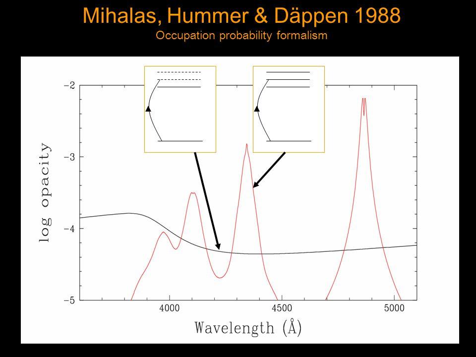 Mihalas, Hummer & Däppen 1988 Occupation probability formalism