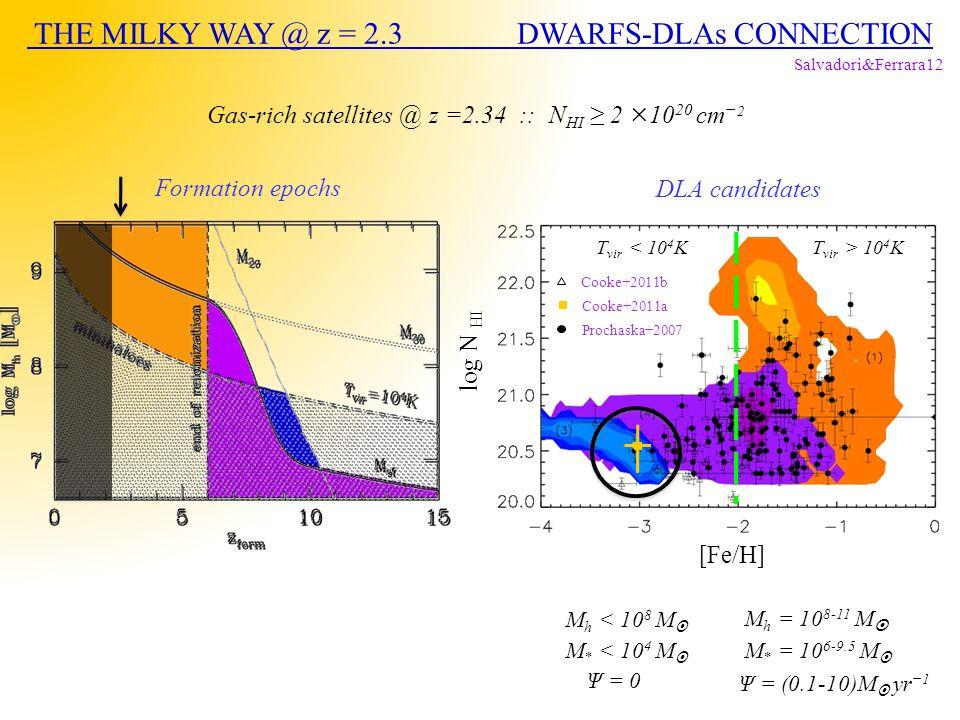 T vir < 10 4 KT vir > 10 4 K Formation epochs M h < 10 8 M  M h = 10 8-11 M  M * < 10 4 M  M * = 10 6-9.5 M  Ψ = (0.1-10)M  yr −1 Ψ = 0 Gas-rich satellites @ z =2.34 :: N HI ≥ 2 ×10 20 cm − 2 Salvadori&Ferrara12 Cooke+2011b Cooke+2011a Prochaska+2007 DLA candidates log N HI [Fe/H] THE MILKY WAY @ z = 2.3 DWARFS-DLAs CONNECTION