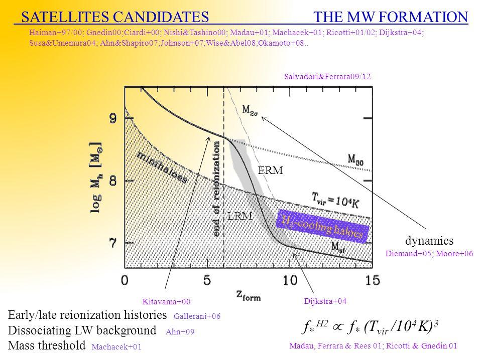 SATELLITES CANDIDATES THE MW FORMATION Haiman+97/00; Gnedin00;Ciardi+00; Nishi&Tashino00; Madau+01; Machacek+01; Ricotti+01/02; Dijkstra+04; Susa&Umemura04; Ahn&Shapiro07;Johnson+07;Wise&Abel08;Okamoto+08..