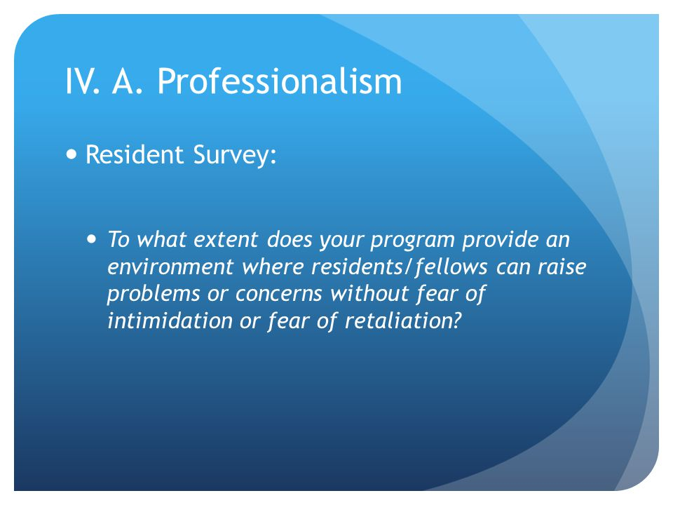 IV. A. Professionalism Resident Survey: To what extent does your program provide an environment where residents/fellows can raise problems or concerns