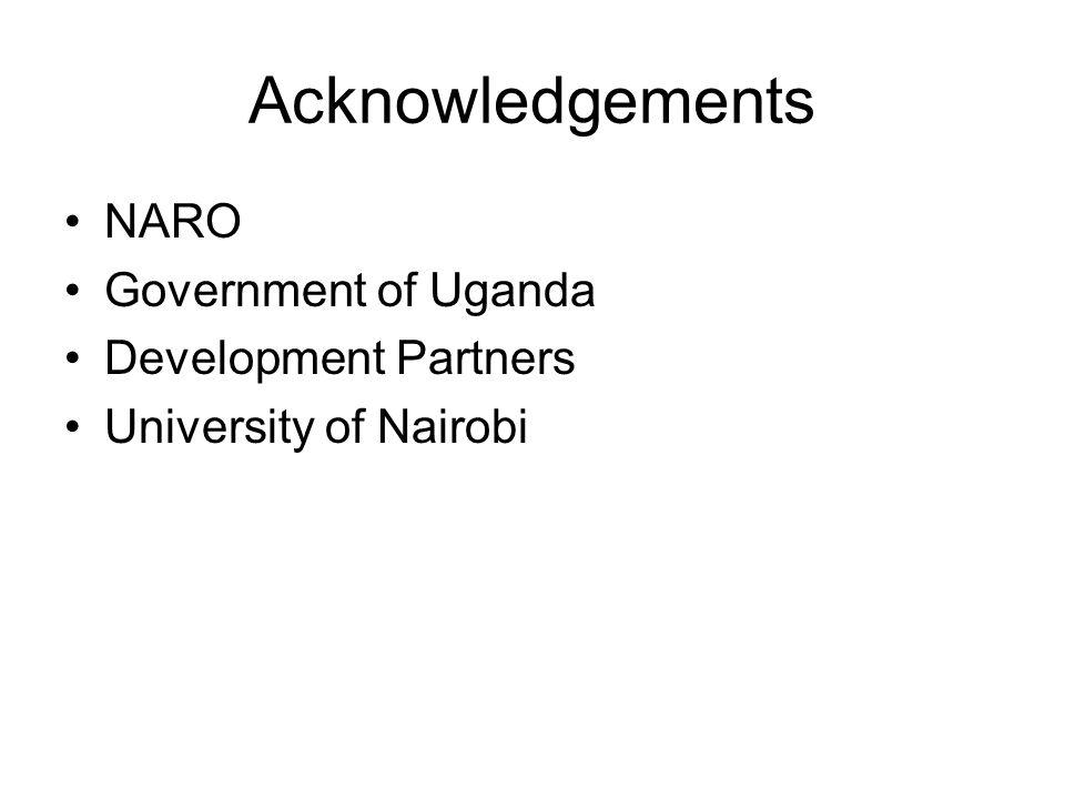 Acknowledgements NARO Government of Uganda Development Partners University of Nairobi