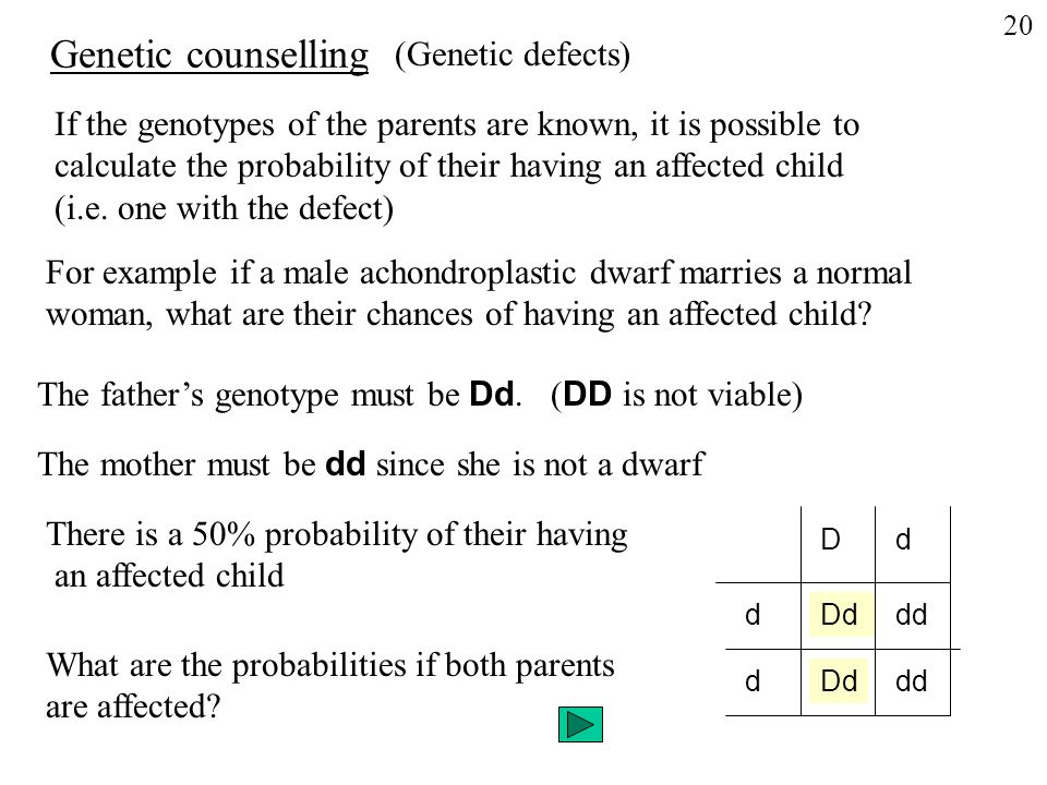 If the genotypes of the parents are known, it is possible to calculate the probability of their having an affected child (i.e.
