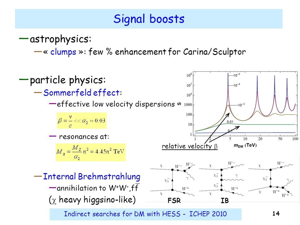 Indirect searches for DM with HESS - ICHEP 2010 14 Signal boosts ― astrophysics: ― « clumps »: few % enhancement for Carina/Sculptor ― particle physic