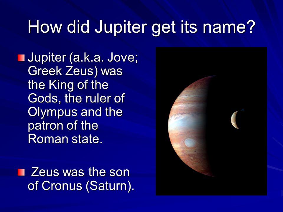 How did Jupiter get its name. Jupiter (a.k.a.