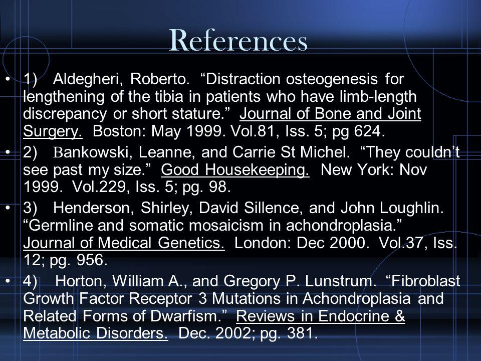 References 1) Aldegheri, Roberto.