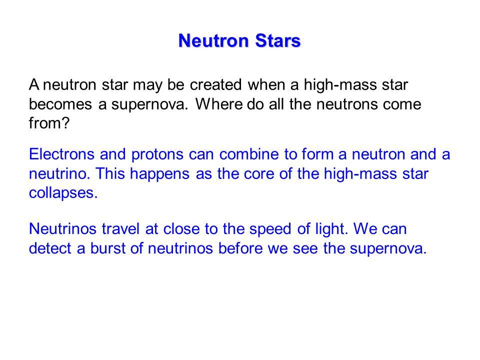 Neutron Stars A neutron star may be created when a high-mass star becomes a supernova.