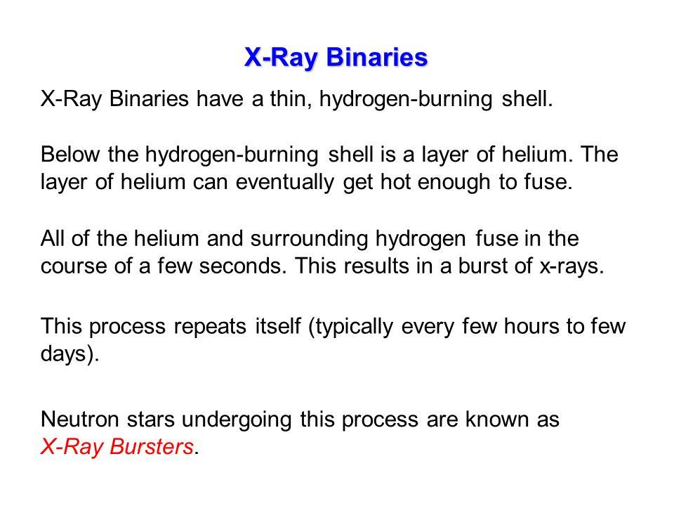 X-Ray Binaries X-Ray Binaries have a thin, hydrogen-burning shell. Below the hydrogen-burning shell is a layer of helium. The layer of helium can even