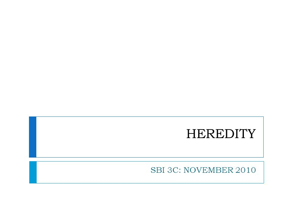 HEREDITY SBI 3C: NOVEMBER 2010