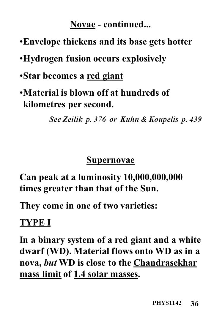 PHYS1142 37 Supernovae - continued...The degenerate electron gas collapses under gravity.