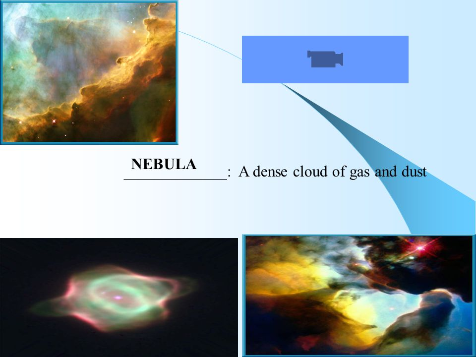 _____________: A dense cloud of gas and dust NEBULA