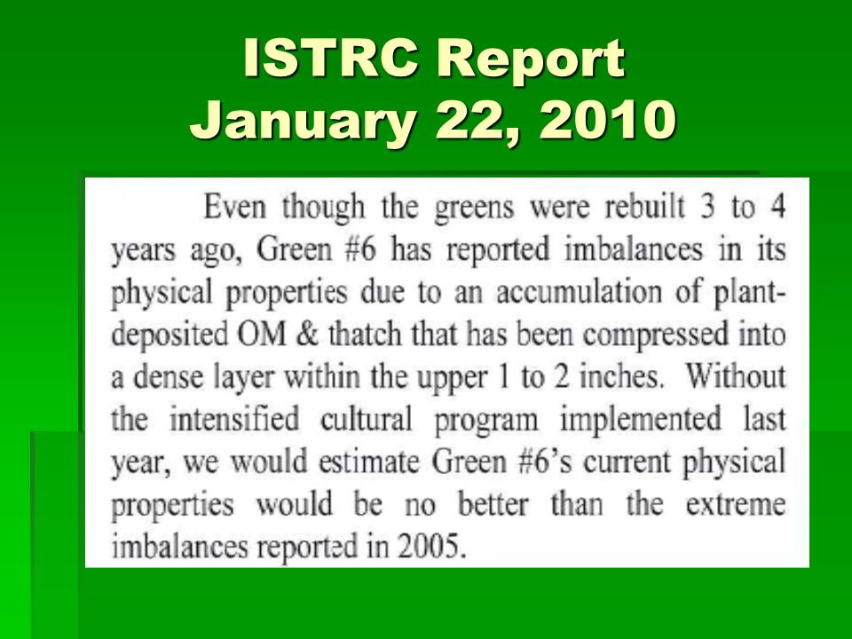 ISTRC Report January 22, 2010