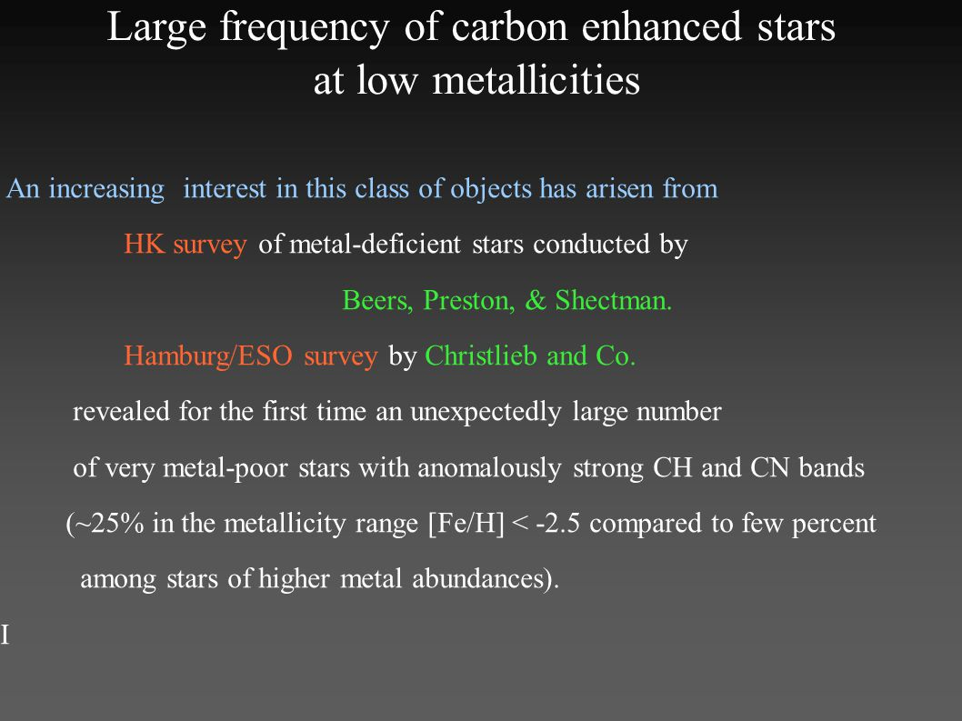 An increasing interest in this class of objects has arisen from HK survey of metal-deficient stars conducted by Beers, Preston, & Shectman.