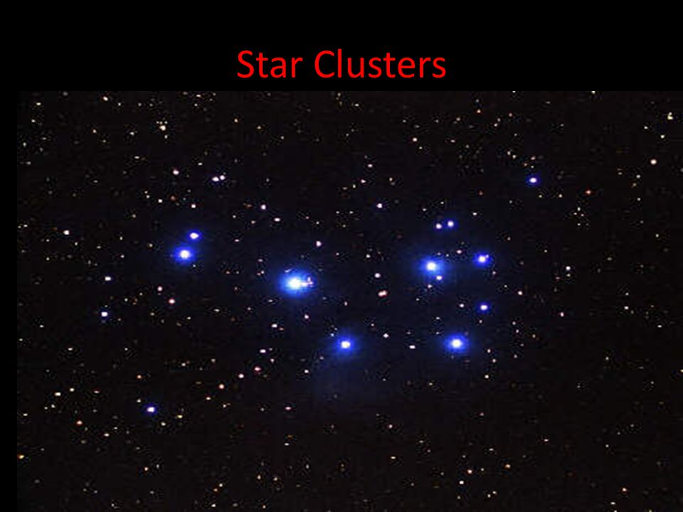 Star Clusters A closely knit collection of stars, such as Pleiades (seven sisters). It would take approximately 30 million years for the collapse of t