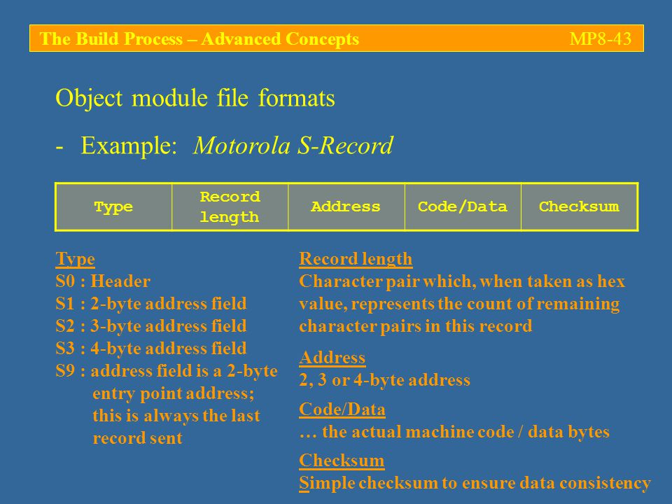 The Build Process – Advanced ConceptsMP8-43 -Example: Motorola S-Record Object module file formats Type Record length AddressCode/DataChecksum Type S0 : Header S1 : 2-byte address field S2 : 3-byte address field S3 : 4-byte address field S9 : address field is a 2-byte entry point address; this is always the last record sent Record length Character pair which, when taken as hex value, represents the count of remaining character pairs in this record Address 2, 3 or 4-byte address Code/Data … the actual machine code / data bytes Checksum Simple checksum to ensure data consistency
