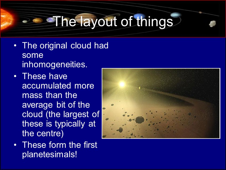 The layout of things The original cloud had some inhomogeneities.