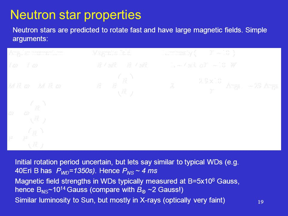 19 Neutron star properties Neutron stars are predicted to rotate fast and have large magnetic fields.