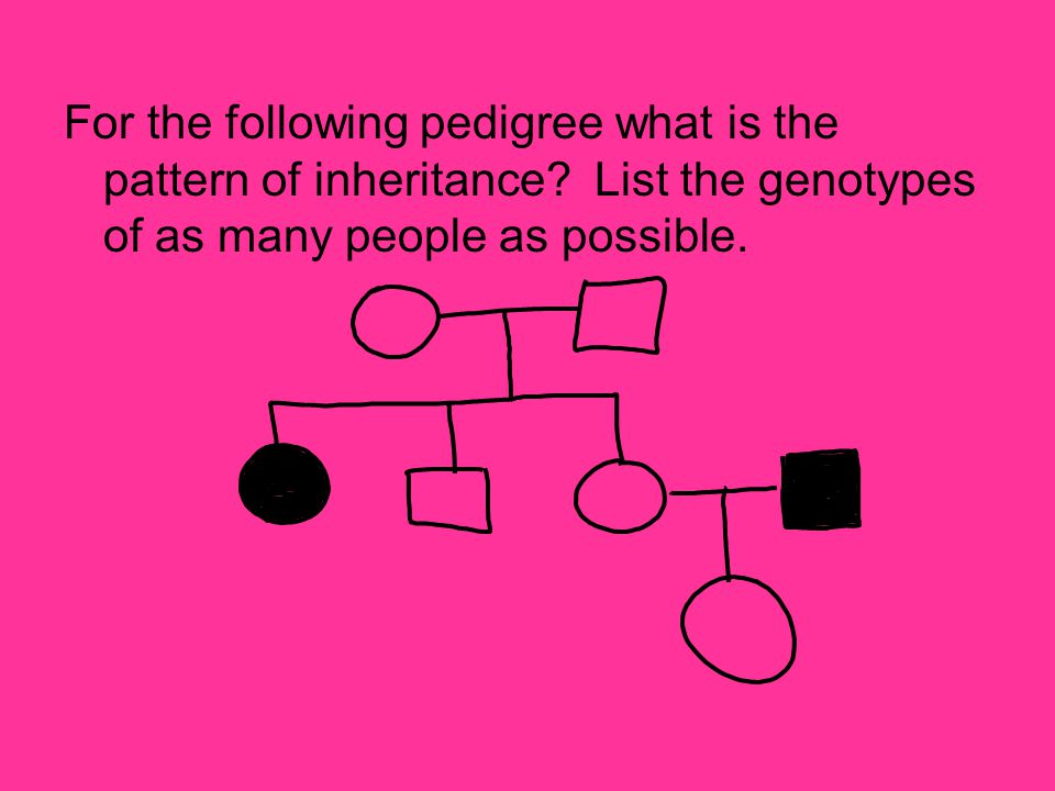 For the following pedigree what is the pattern of inheritance? List the genotypes of as many people as possible.