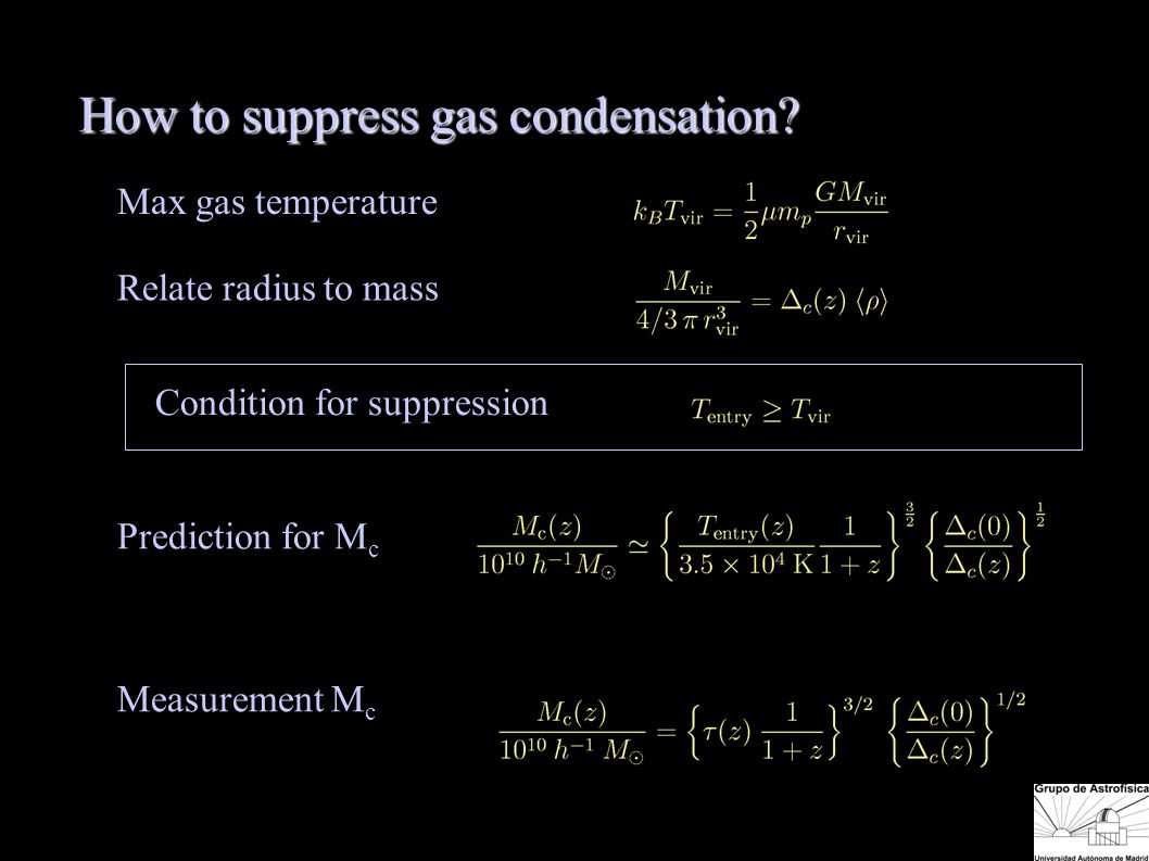 Max gas temperature Relate radius to mass Prediction for M c Measurement M c Condition for suppression How to suppress gas condensation.