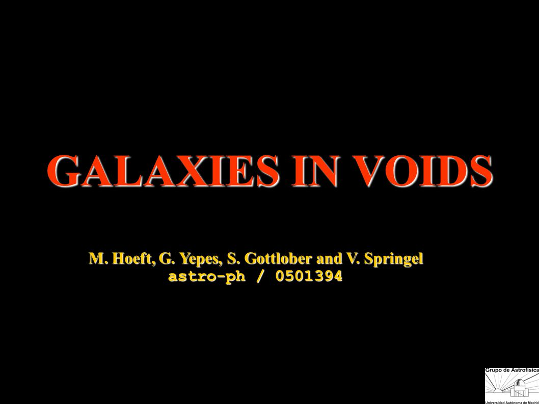 GALAXIES IN VOIDS M. Hoeft, G. Yepes, S. Gottlober and V. Springel astro-ph / 0501394