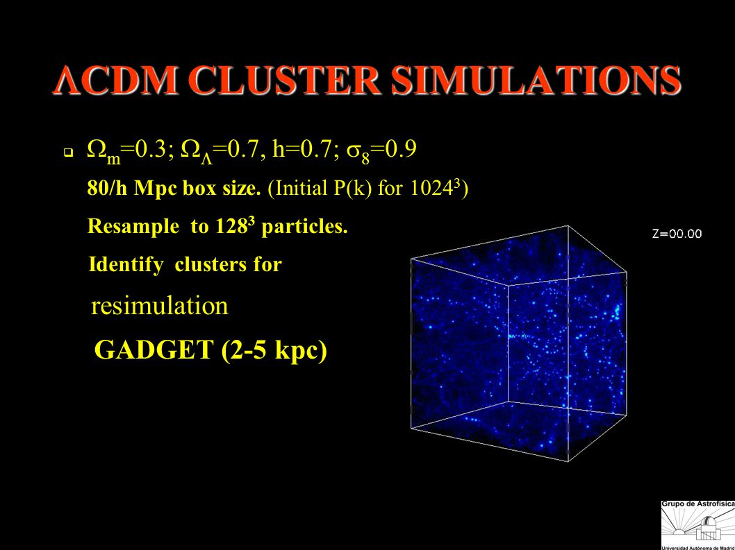  CDM CLUSTER SIMULATIONS   m =0.3;   =0.7, h=0.7;  8 =0.9 ● 80/h Mpc box size.