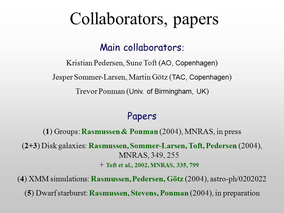 Collaborators, papers Papers (1) Groups: Rasmussen & Ponman (2004), MNRAS, in press (2+3) Disk galaxies: Rasmussen, Sommer-Larsen, Toft, Pedersen (2004), MNRAS, 349, 255 + Toft et al., 2002, MNRAS, 335, 799 (4) XMM simulations: Rasmussen, Pedersen, Götz (2004), astro-ph/0202022 (5) Dwarf starburst: Rasmussen, Stevens, Ponman (2004), in preparation Main collaborators : Kristian Pedersen, Sune Toft ( AO, Copenhagen ) Jesper Sommer-Larsen, Martin Götz ( TAC, Copenhagen ) Trevor Ponman ( Univ.