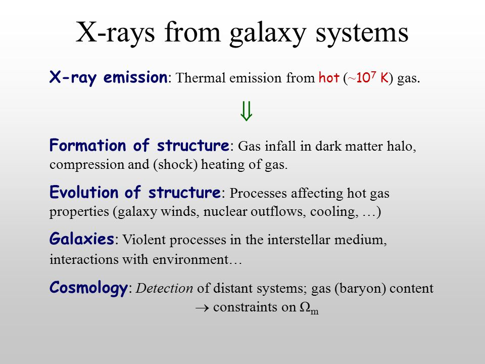 X-rays from galaxy systems  Formation of structure : Gas infall in dark matter halo, compression and (shock) heating of gas.