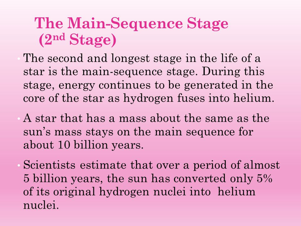 The Main-Sequence Stage (2 nd Stage) The second and longest stage in the life of a star is the main-sequence stage. During this stage, energy continue