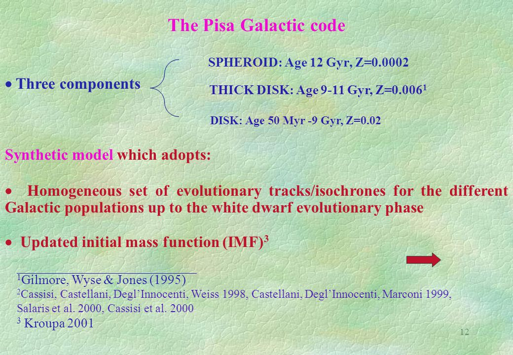 12 The Pisa Galactic code SPHEROID: Age 12 Gyr, Z=0.0002  Three components THICK DISK: Age 9-11 Gyr, Z=0.006 1 DISK: Age 50 Myr -9 Gyr, Z=0.02 Synthetic model which adopts:  Homogeneous set of evolutionary tracks/isochrones for the different Galactic populations up to the white dwarf evolutionary phase  Updated initial mass function (IMF) 3  _________________________________________ 1 Gilmore, Wyse & Jones (1995) 2 Cassisi, Castellani, Degl'Innocenti, Weiss 1998, Castellani, Degl'Innocenti, Marconi 1999, Salaris et al.