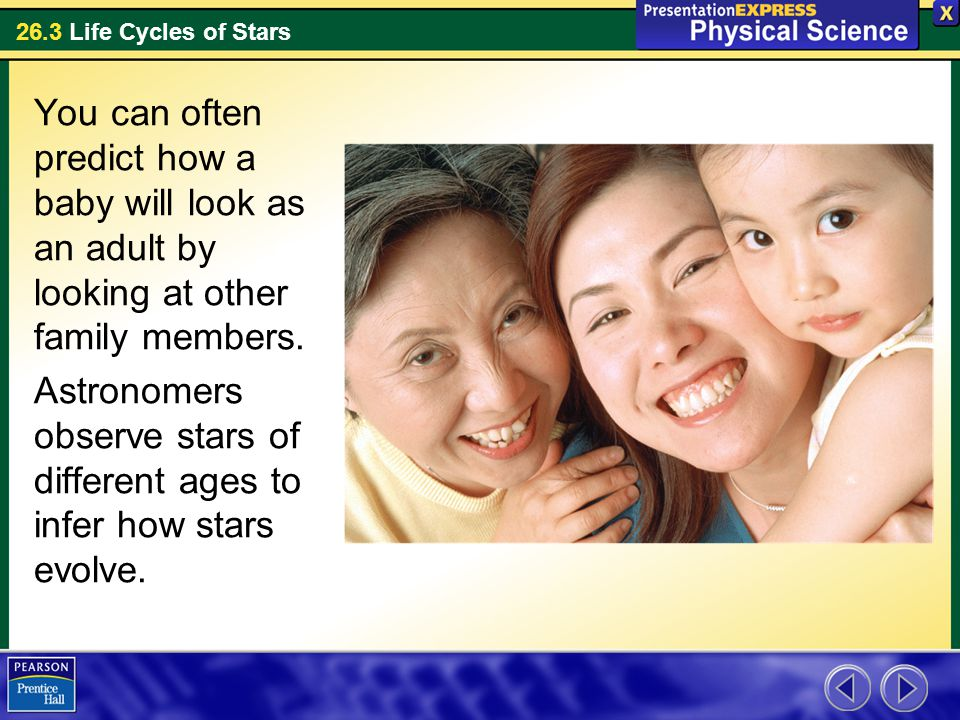 26.3 Life Cycles of Stars You can often predict how a baby will look as an adult by looking at other family members. Astronomers observe stars of diff