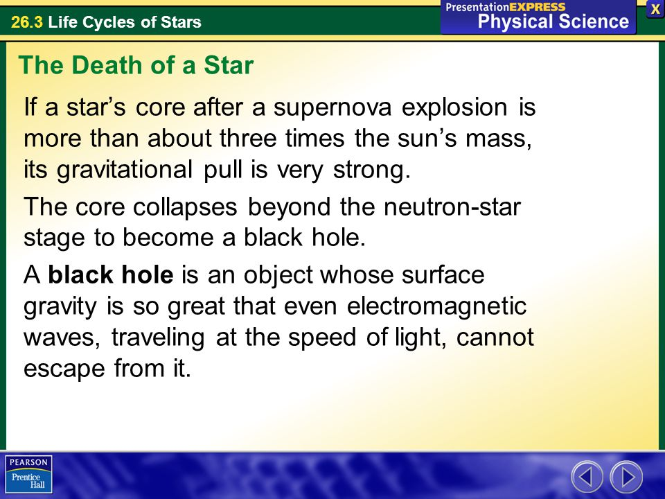 26.3 Life Cycles of Stars If a star's core after a supernova explosion is more than about three times the sun's mass, its gravitational pull is very s