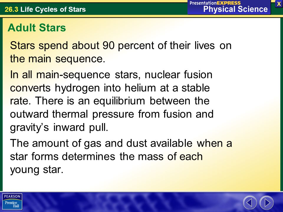 26.3 Life Cycles of Stars Stars spend about 90 percent of their lives on the main sequence. In all main-sequence stars, nuclear fusion converts hydrog