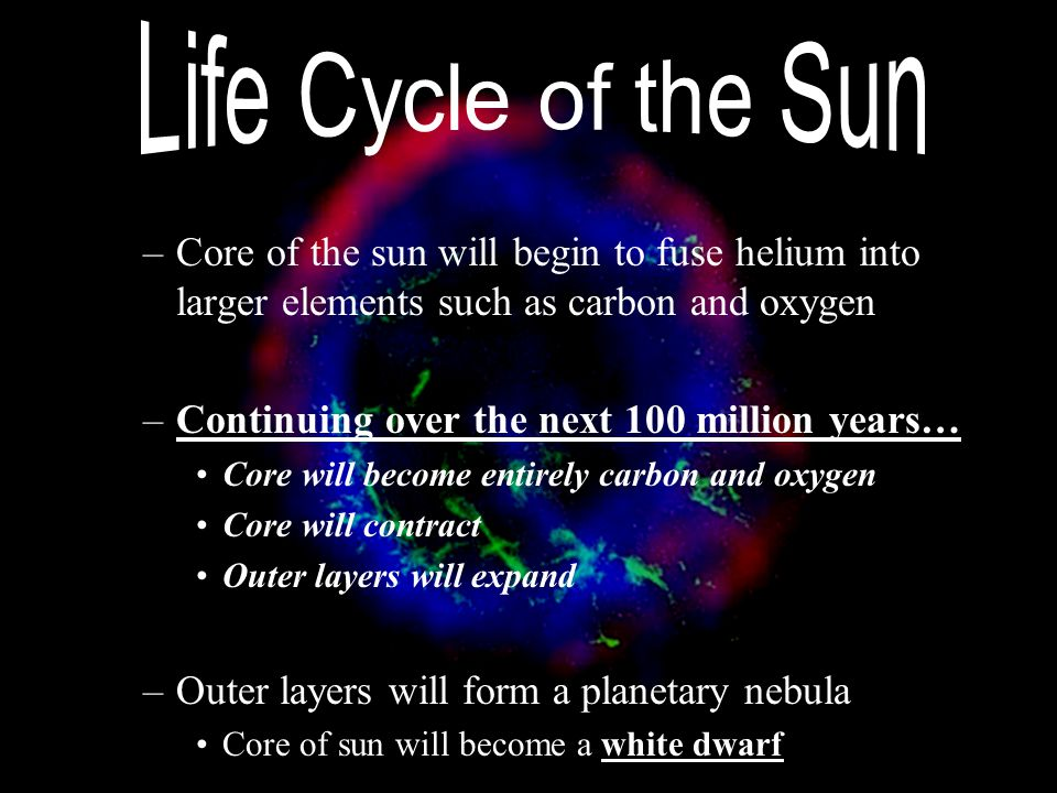 –Core of the sun will begin to fuse helium into larger elements such as carbon and oxygen –Continuing over the next 100 million years… Core will becom