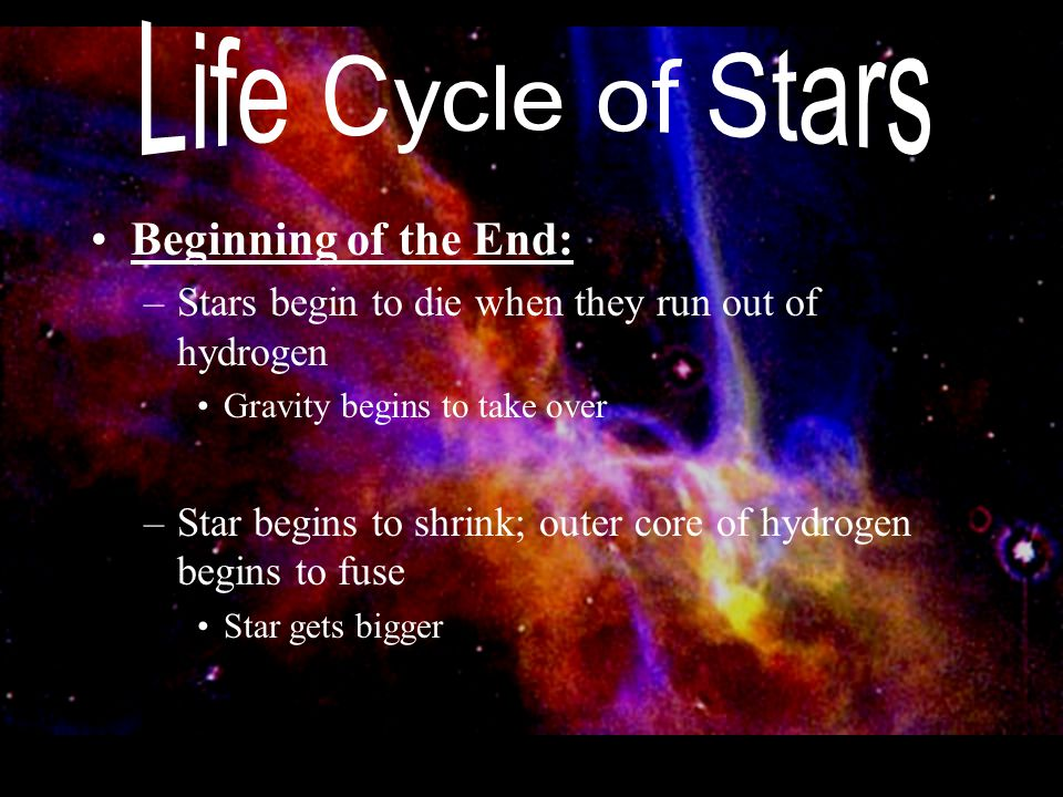Beginning of the End: –Stars begin to die when they run out of hydrogen Gravity begins to take over –Star begins to shrink; outer core of hydrogen beg