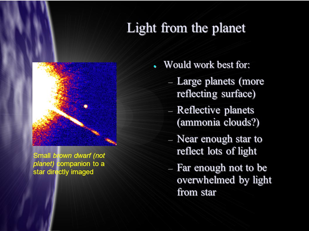 ● Would work best for: – Large planets (more reflecting surface) – Reflective planets (ammonia clouds?) – Near enough star to reflect lots of light –