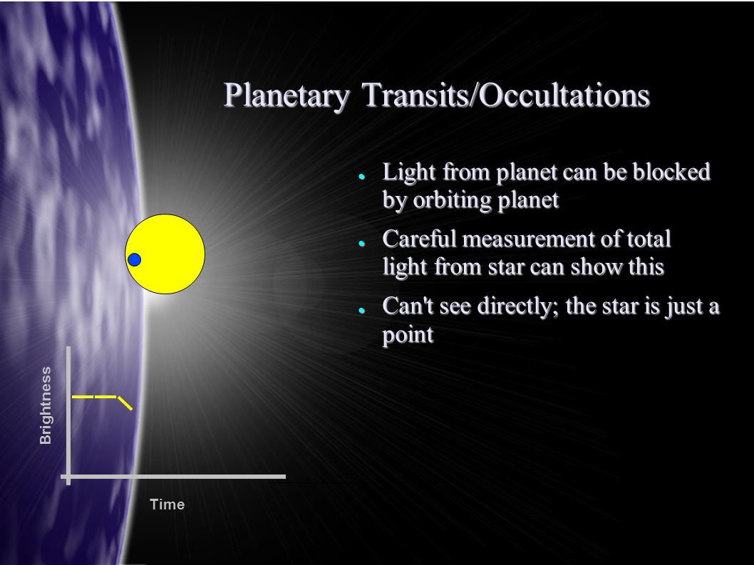 Planetary Transits/Occultations ● Light from planet can be blocked by orbiting planet ● Careful measurement of total light from star can show this ● C