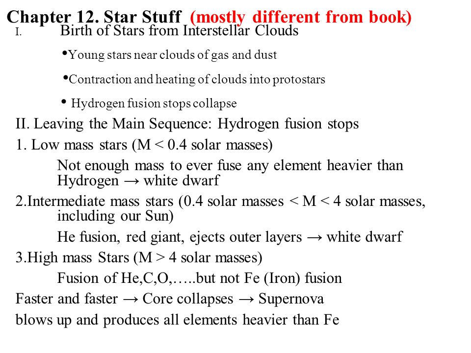 Chapter 12. Star Stuff (mostly different from book) I.