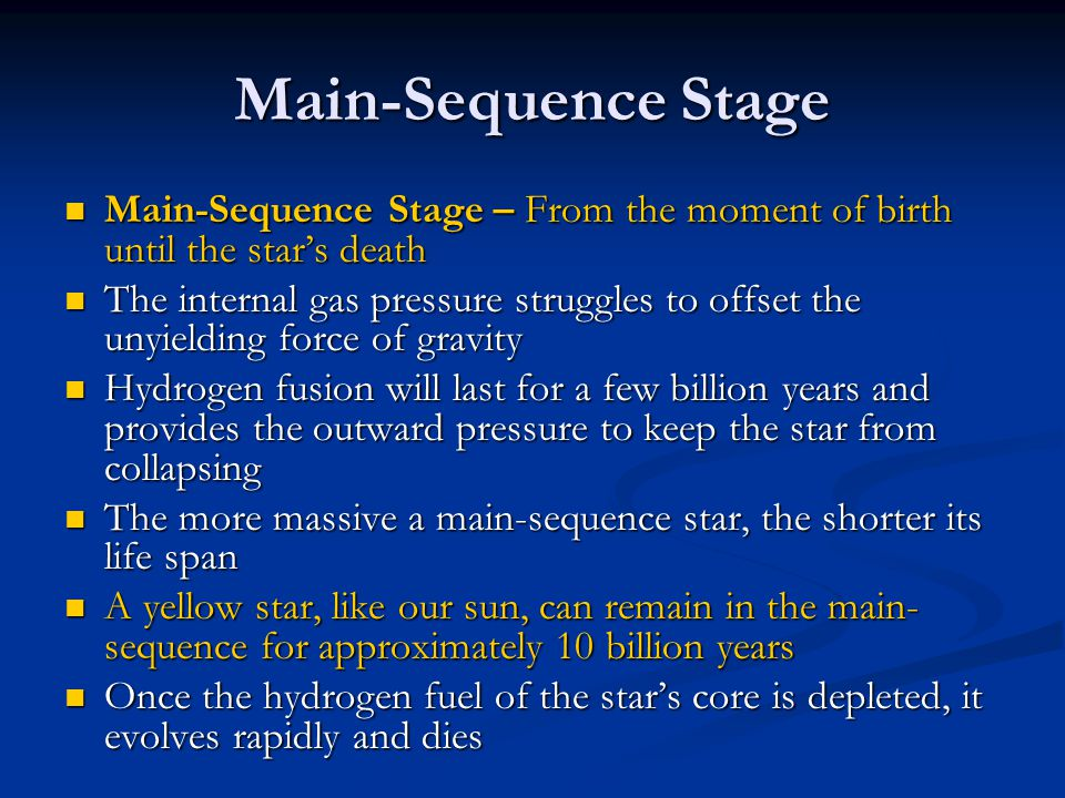 Main-Sequence Stage Main-Sequence Stage – From the moment of birth until the star's death Main-Sequence Stage – From the moment of birth until the sta