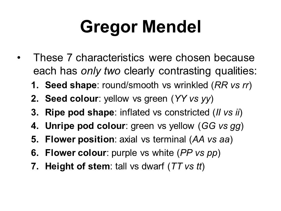 Gregor Mendel These 7 characteristics were chosen because each has only two clearly contrasting qualities: 1.Seed shape: round/smooth vs wrinkled (RR vs rr) 2.Seed colour: yellow vs green (YY vs yy) 3.Ripe pod shape: inflated vs constricted (II vs ii) 4.Unripe pod colour: green vs yellow (GG vs gg) 5.Flower position: axial vs terminal (AA vs aa) 6.Flower colour: purple vs white (PP vs pp) 7.Height of stem: tall vs dwarf (TT vs tt)