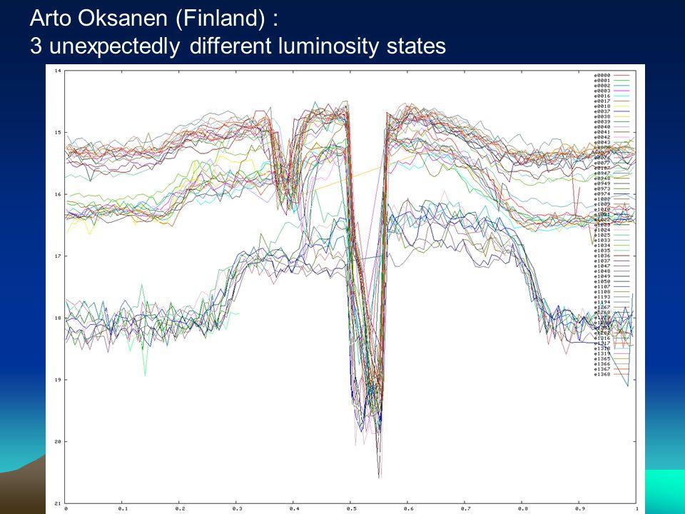 Arto Oksanen (Finland) : 3 unexpectedly different luminosity states