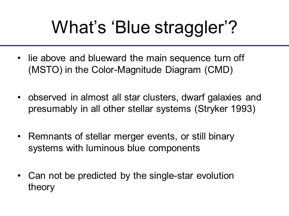 Monte-Carlo simulations of the primordial BSs in M67 Grid: donor: 0.1-2M_sun,0.1Msun accretor: 0.1-donor,0.1Msun orbit separation: 1.0-50.0R_sun,1.0R_sun age: 1.0-6.0Gyr,1.0Gyr 12000 primordial binaries at its birth (Hurley er al.