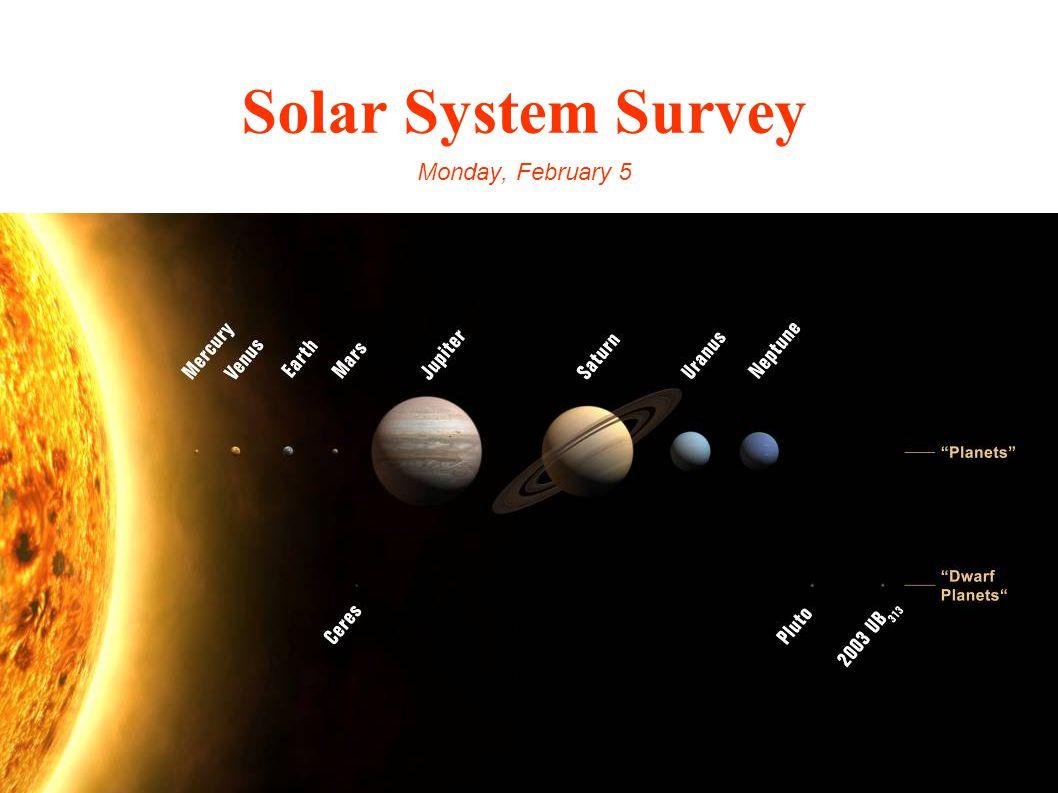 Solar System Survey Monday, February 5