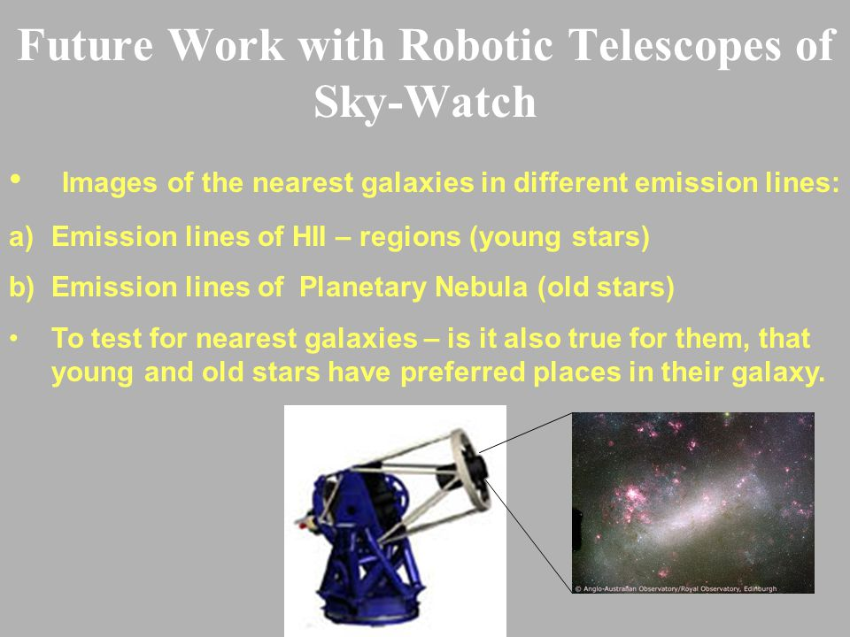 Future Work with Robotic Telescopes of Sky-Watch Images of the nearest galaxies in different emission lines: a)Emission lines of HII – regions (young