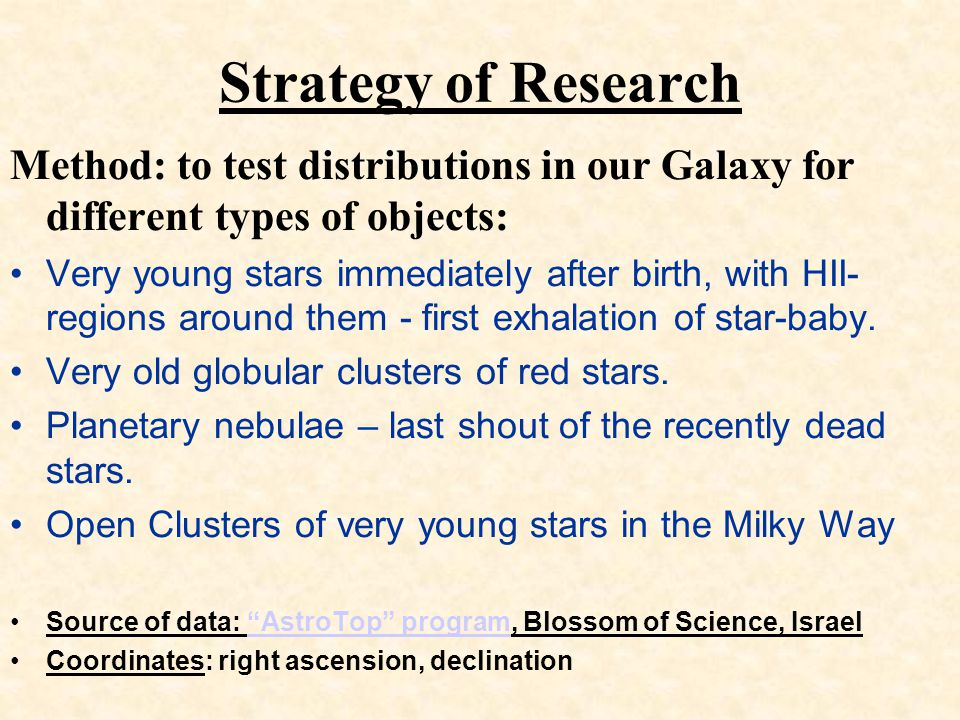 Strategy of Research Method: to test distributions in our Galaxy for different types of objects: Very young stars immediately after birth, with HII- regions around them - first exhalation of star-baby.