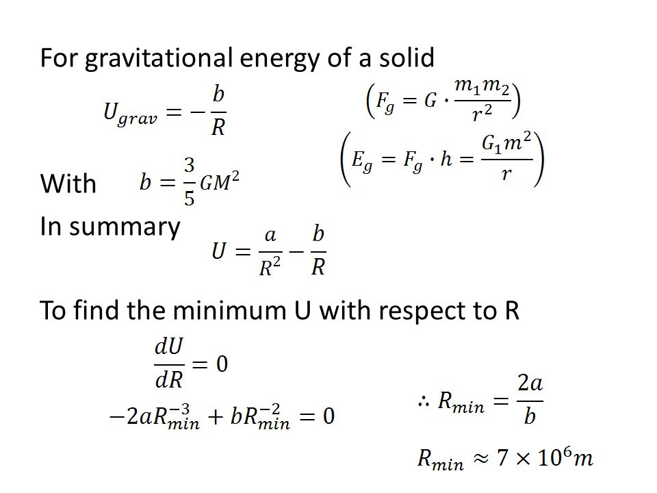 For gravitational energy of a solid With In summary To find the minimum U with respect to R
