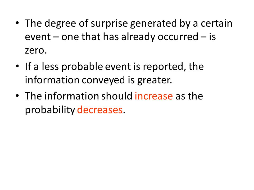 The degree of surprise generated by a certain event – one that has already occurred – is zero.